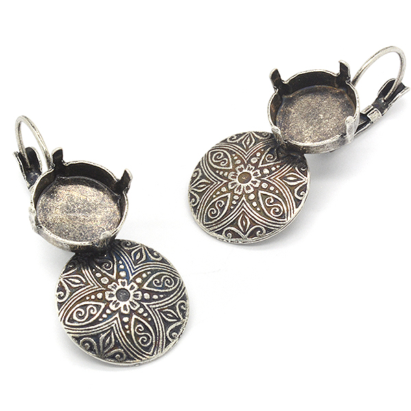 12mm Rivoli Hanging Earing bases with round decorated element