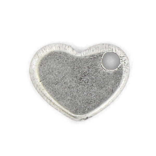 Heart charm with side hole - 4pcs pack