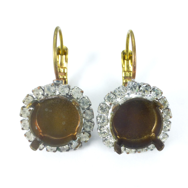 12mm Rivoli Drop Earrings Base with rhinstone