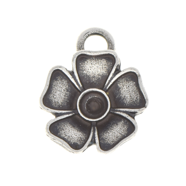 24pp Metal flower pendant base with top loop