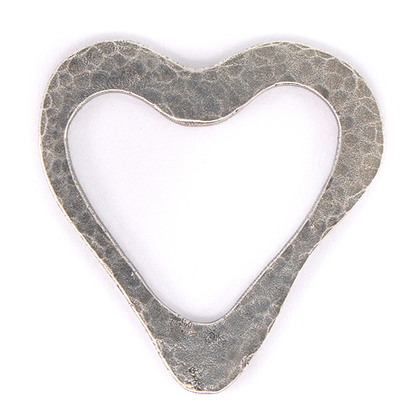 Heart shape hammered asymmetric jewelry connector - 2pcs pack