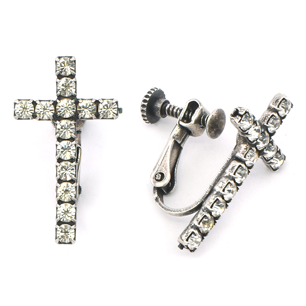 Cross SW rhinestone Clip On Screw Back Earring base
