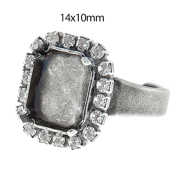18x13mm Rose Gold Adjustable Ring Setting W/crystal Rhinestone Fit Swarovski4120 Clear-Cut Texture Jewelry Design & Repair