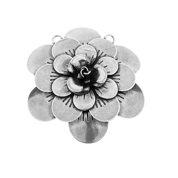 50mm Flower Stamping metal volumes element with two top loops Pendant base