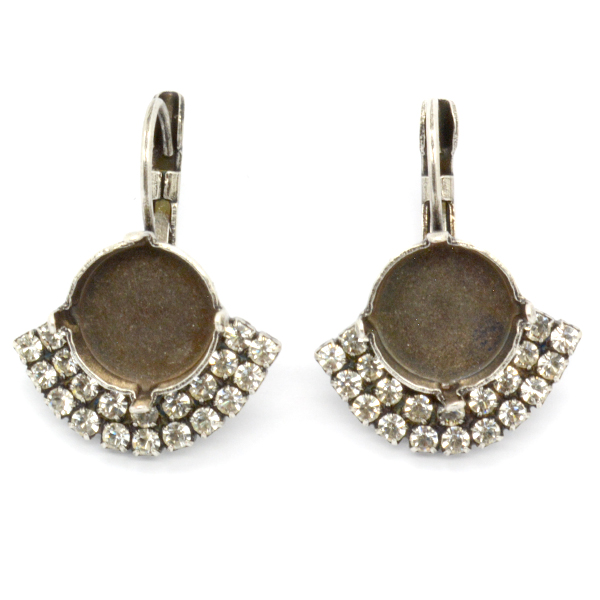 Rivoli 12mm drop earrings base with rhinestones
