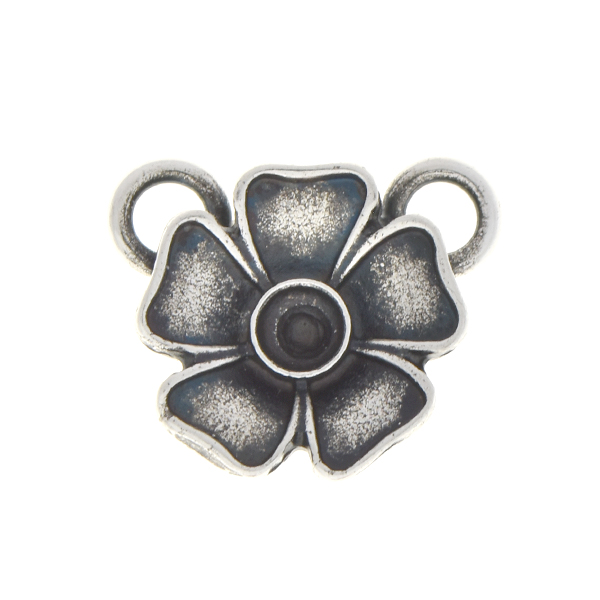 24pp Metal flower pendant base with two top loops