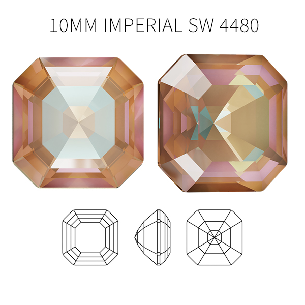 Cappuccino DeLite 10mm Imperial Square Swarovski 4480 crystal - 5pcs pack