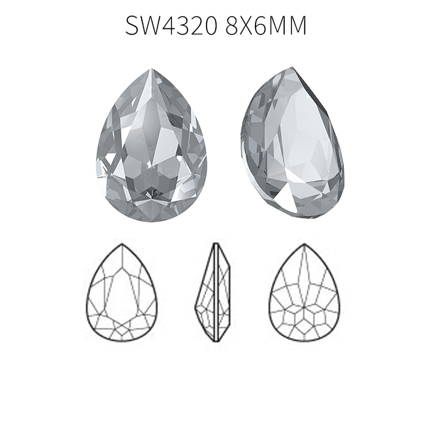 Swarovski 4320 Pear shape 8x6mm Crystal color - 5pcs