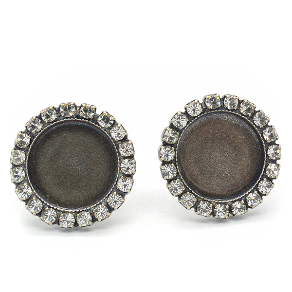 12mm flat back stud earring base with SW rhinestone