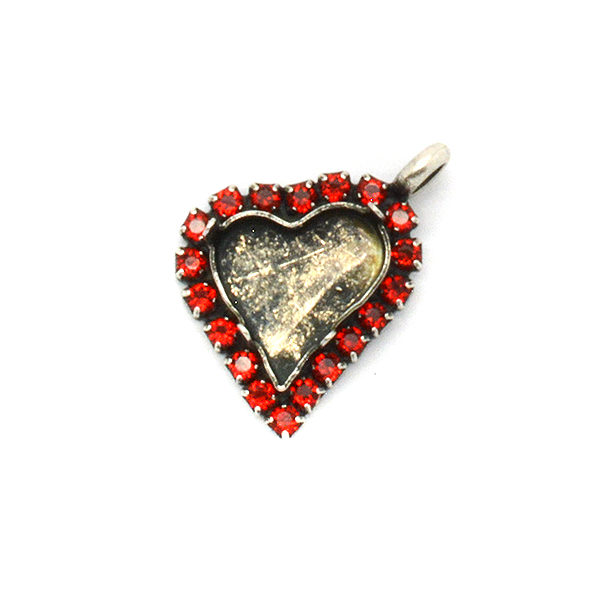 13X12mm Sweet Heart Fancy Pendant base with SW Rhinestone and top side loop