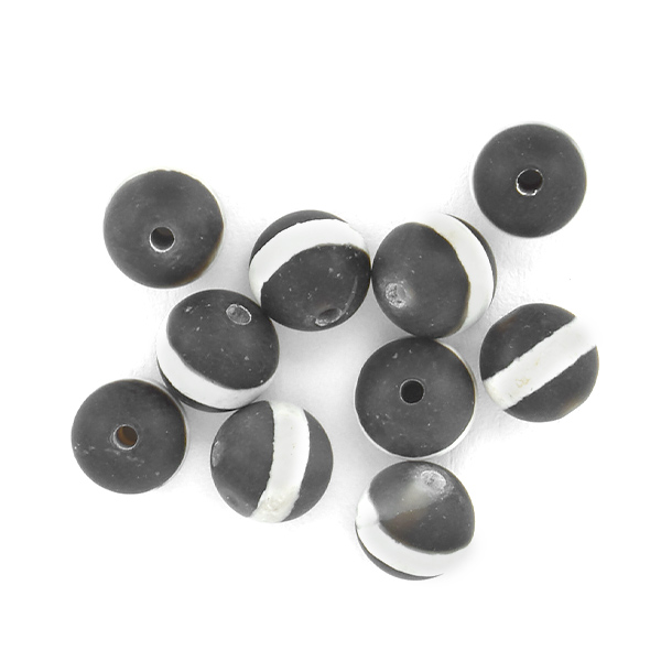 6mm Round Agate Stone Beads White Line Black Matte color - 10pcs pack