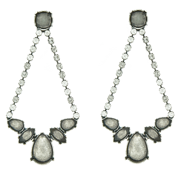 f6dc82789 55%. Mixed Size stone settings Stud Earrings with hanging SW Rhinestones