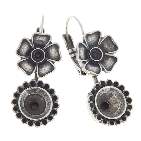 8pp, 24pp, 39ss Metal flower leverback earring base