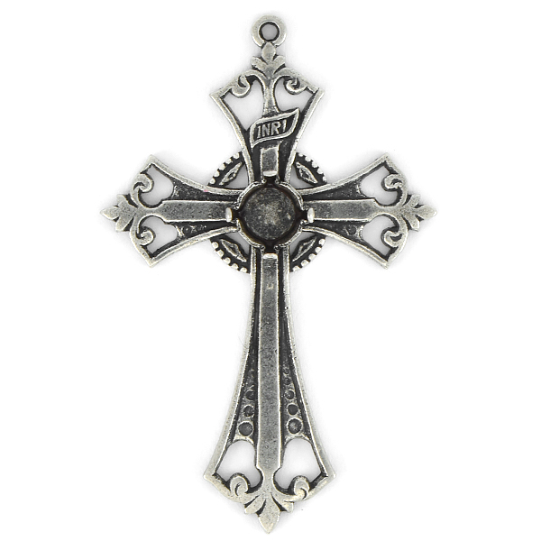 29ss Decorated Cross Pendant base with top loop