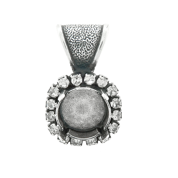 10mm Rivoli stone setting with SW Rhinestones  Pendant base with bail