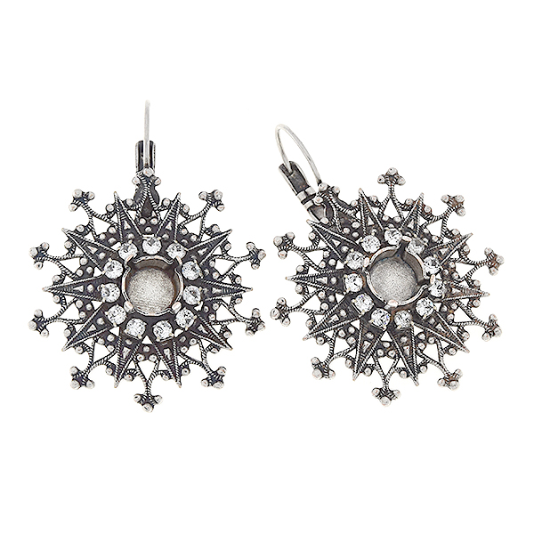 39ss Filigree snowflake earring bases with 18pp SW rhinestone