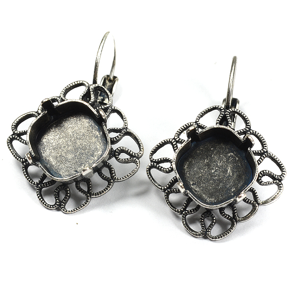 Filigree drop 12-12mm square SW 4470 earring base