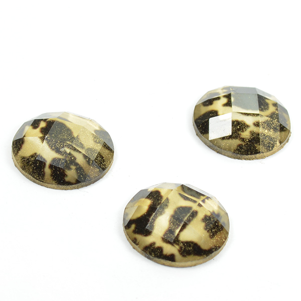 12mm Round Leopard print Plastic cabochon for embedding -5pcs pack