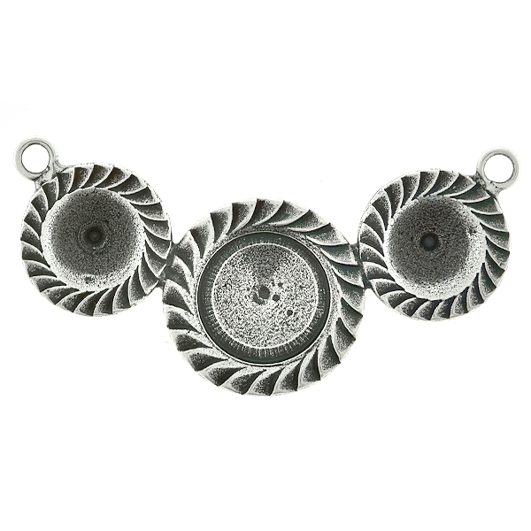 39ss and 12mm Rivoli Jagged ornamental metal casting Pendant base with two side loops