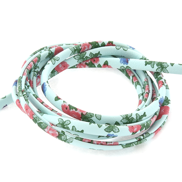 4.5mm Faux Leather Cord with Red Flowers print - 1 Meter