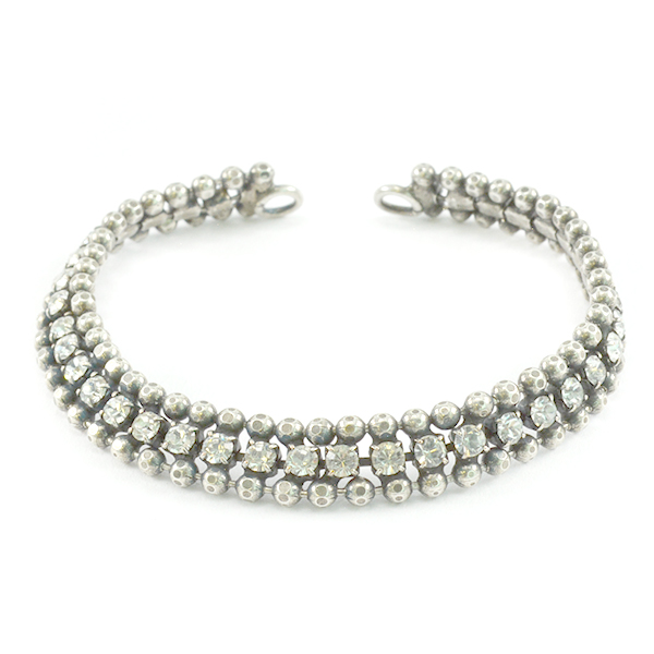 Faceted 2mm ball chain with SW rhinestone bracelet base - 14cm