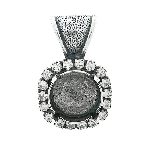 12mm Rivoli stone setting with SW Rhinestones  Pendant base with bail