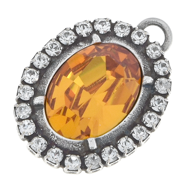 14x10mm Oval metal casting pendant with SW rhinestone