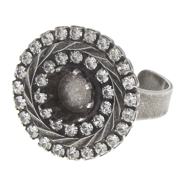 39ss Crown ring base with double rows of SW rhinestone