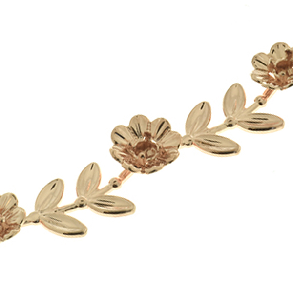 Special Unique 32pp Flower Branch with Leaves Cup chain for Bracelets by meter
