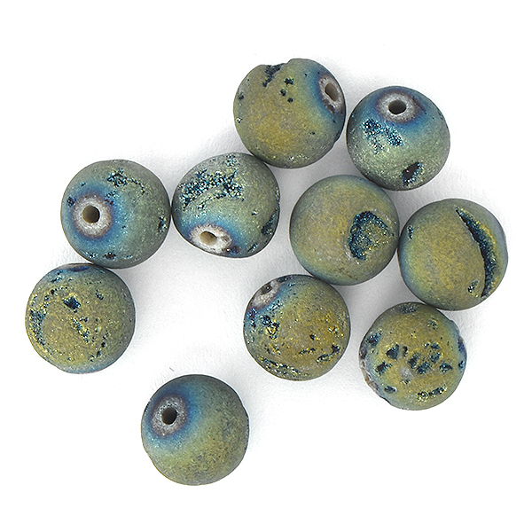 8mm Round Druzy Agate Geode Beads Green Matte - 10pcs pack