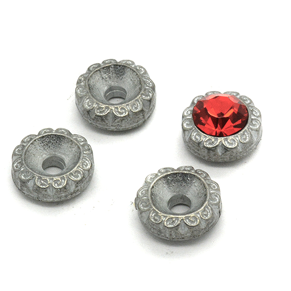 24ss Floral Metal Embedding element with hole for 39ss setting - 4pcs pack