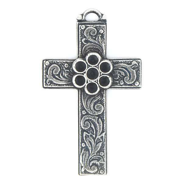 18pp Flower on Cross Pendant base with top loop