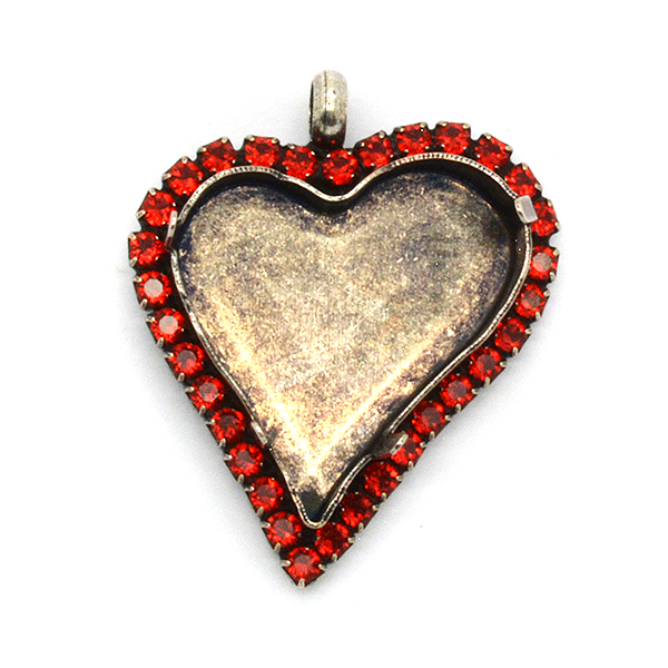 27x25mm Sweet Heart Fancy Pendant base with SW Rhinestones and top loop
