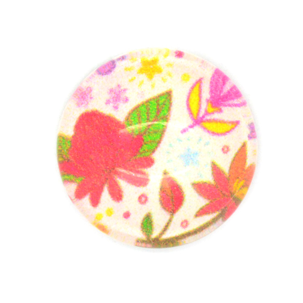 Colorful Flowers printed cabochons 14mm Flat Back-5pcs pack