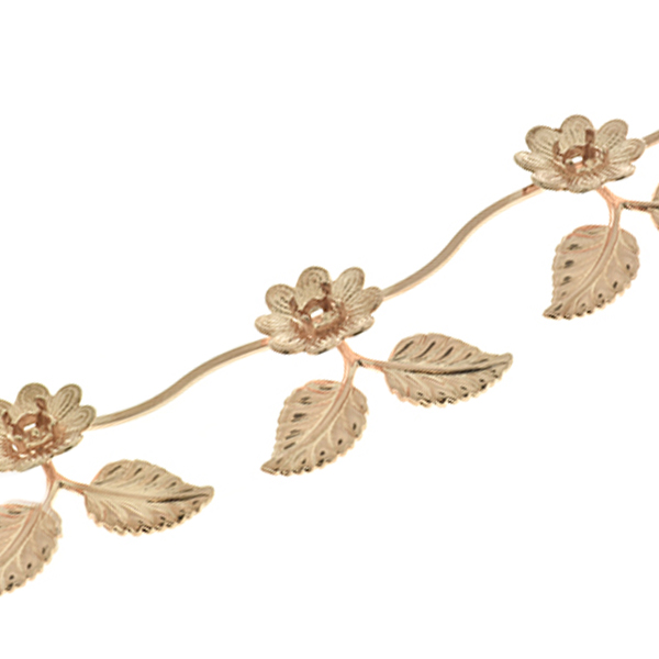Special Unique 24ss Flower Branch with Leaves Cup chain for Bracelets/Necklaces by meter