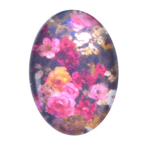 18x13mm Oval Flat back Printed Cabochons with Bouquet of Flowers -5pcs pack