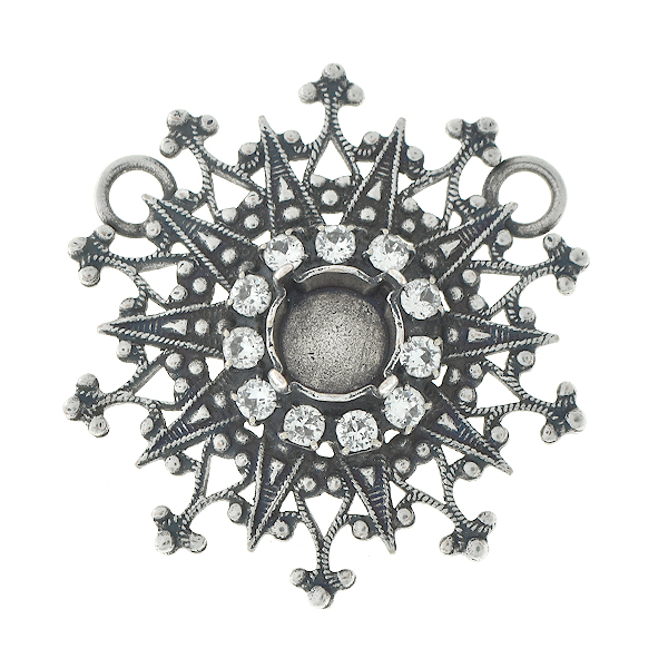39ss Filigree snowflake pendant base with SW rhinestone and two loops