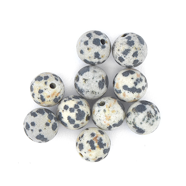 8mm Round Jasper Stone Beads Dalmatian color - 10pcs pack