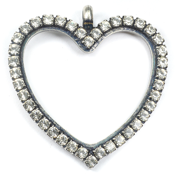 36X38mm Hollow Heart shape base SW Rhinestone and top loop