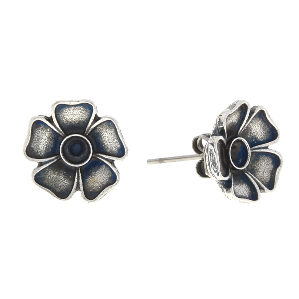 24pp Metal flower stud earring base