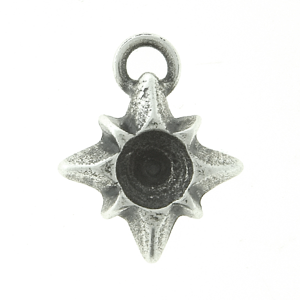 32pp Metal casting Star Charm/Pendant with top loop - 4pcs pack