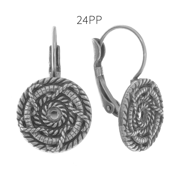 24pp round decorated rope metal casting elements Lever back Earring bases