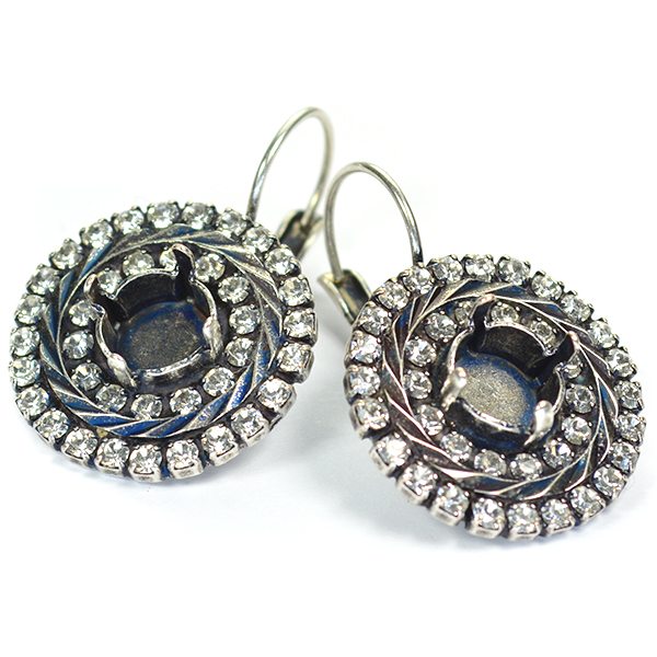 39ss Round Leverback Earring base with SW rhinestone