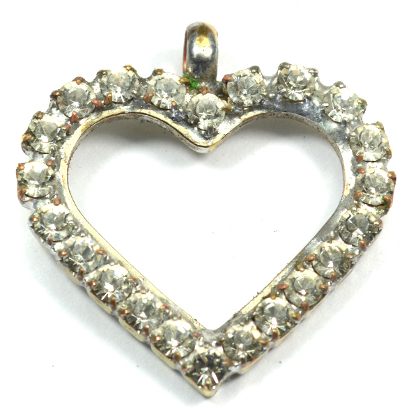 Heart pendant base with SW rhinestones and a top loop