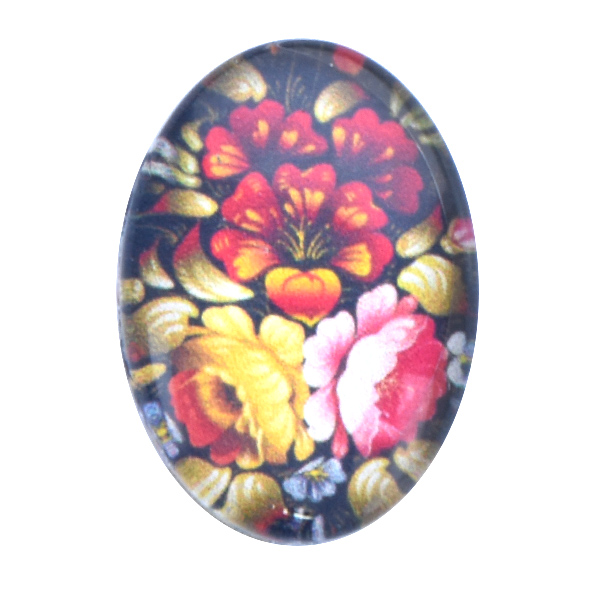 18x13mm Oval Flat back Printed Cabochons with Khokhloma Flower print -5pcs pack