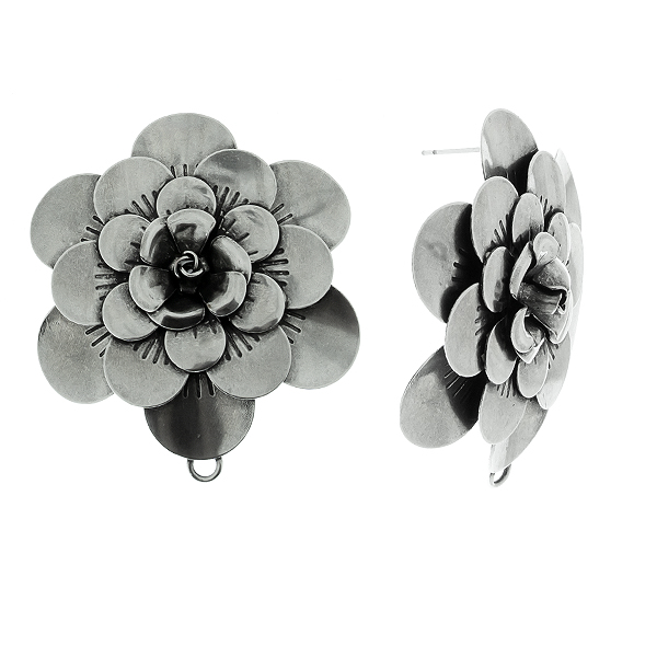 50mm Flower Stamping metal volumes elements Stud earring bases with bottom loops