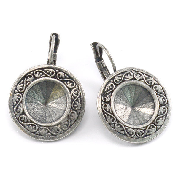 Decorated 12mm Rivoli Drop earring base