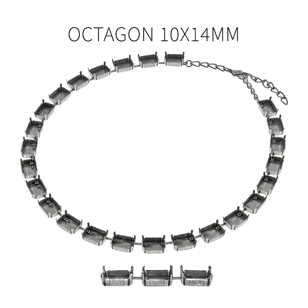 36e1bd9e2d38a 14x10mm Octagon cup chain Almost finished Necklace base (25 settings)