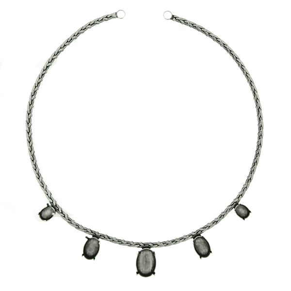 Oval stone settings on round Chain Necklace base