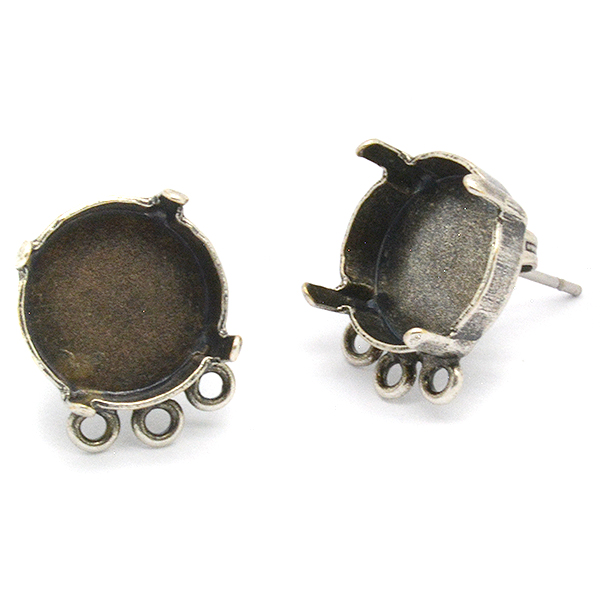 12mm Stud rivoli earrings base with 3 solderd loops